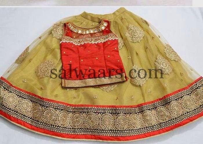 Beige and Orange Net Skirt - Indian Dresses