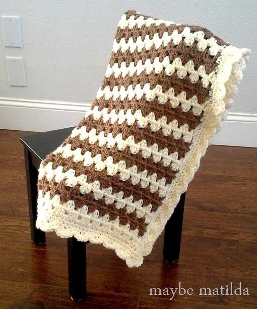 Granny Stripe Baby Blanket Tutorial with step-by-step photos ✿⊱╮Teresa Restegui http://www.pinterest.com/teretegui/✿⊱╮