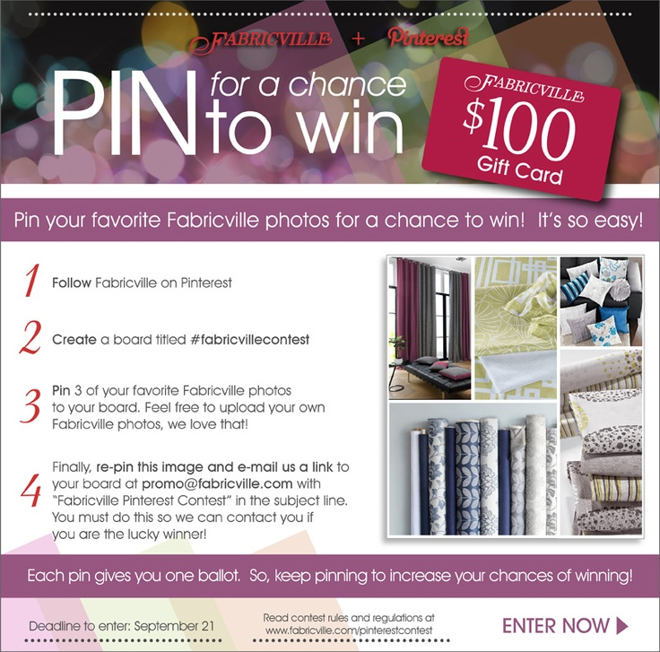 Pin for a chance to WIN a 100$ Fabricville gift card!