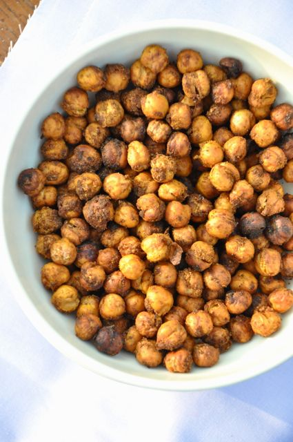 Baked chickpeas - Full of protein and fiber, crunchy like corn nuts = yum! Remove from over after 30 minutes, let cool and then return for 30 mins to get crunchiness!
