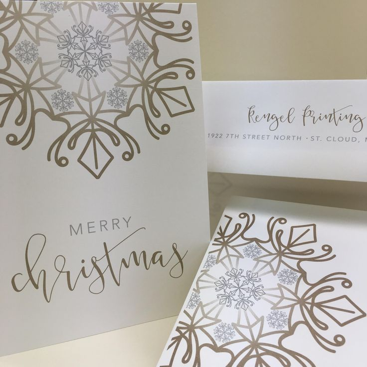 Custom Christmas cards designed and printed by Rengel Printing Company.