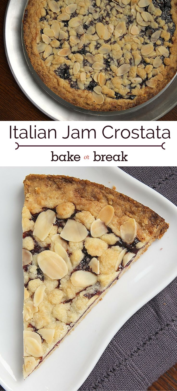 Italian Jam Crostata is wonderfully delicious and so simple to make. A great last-minute dessert! ~ http://www.bakeorbreak.com