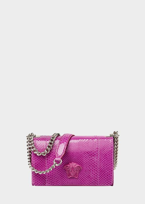 Versace Python Palazzo Clutch for Women | Official Website. Python leather evening bag, with Medusa Head plaque, chain shoulder strap and fold over closure.