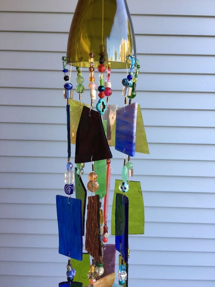 Wind Chime Sun Catcher Stained Glass Wine Bottle. Rustic Garden Art!