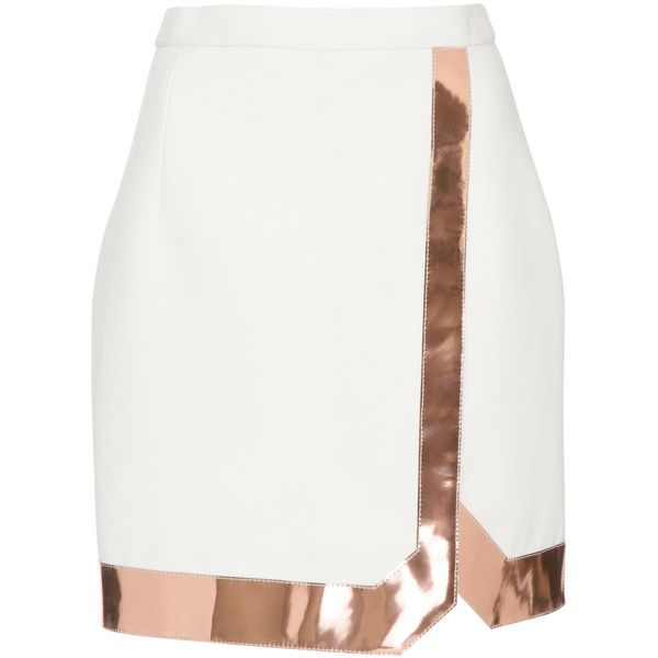 MUGLER Tailored Coating And Mirrored Leather Skirt (1 790 AUD) ❤ liked on Polyvore featuring skirts, mini skirts, white skirt, wrap front skirt, fitted mini skirt, white mini skirt e thierry mugler