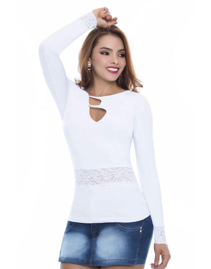 Blusa BL-4031-BL Blusa tono blanco, manga larga, con detalles en blonda