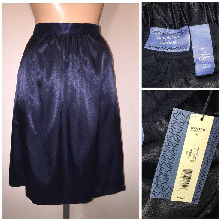 54 Tag Simply Vera Wang Shiny Liquid Satin Knee Skirt