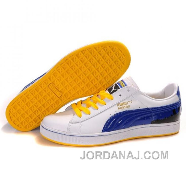Puma Suede Fat Lace In White Royal Blue Yellowpuma high topspuma boys shoesAvailable to buy online