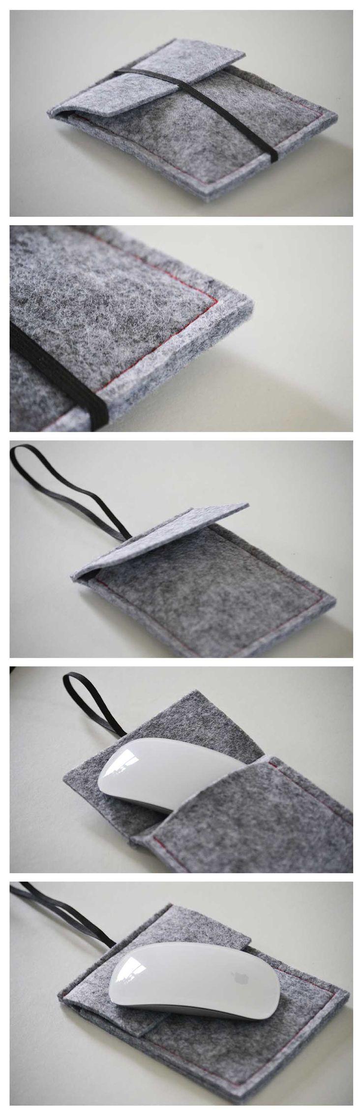 Handmade: hoesje voor computermuis. DIY // vilt // Grijs // Rood // Mouse // Handmade