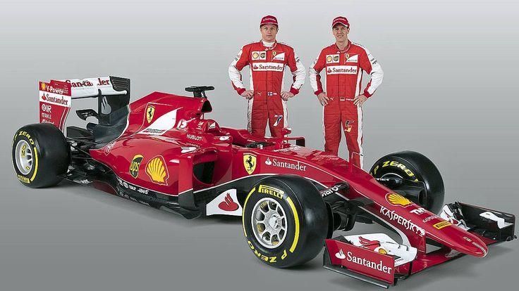 Formel 1: Ferraris SF15-T: Vettels erste rote Göttin lässt die Hüllen fallen - Kimi Räikkönen (l.) und Sebastian Vettel passt der rote Anzug schon mal http://www.focus.de/sport/experten/motorsport-total/formel-1-ferraris-sf15-t-vettels-erste-roete-goettin-laesst-die-huellen-fallen_id_4442016.html http://www.bild.de/sport/motorsport/sebastian-vettel/erstes-foto-vor-seinem-neuen-ferrari-flitzer-39564226.bild.html