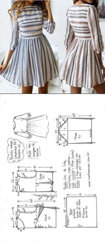 Vestido manga camponesa 3/4 com saia franzida | DIY – molde, corte e costura – M…