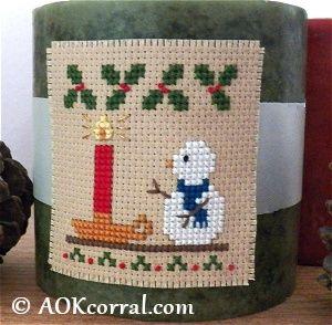 Cross Stitch Christmas Candle