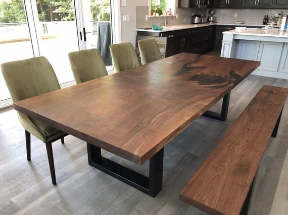 Custom Walnut And Epoxy Dining Table In 2020 Dining Table