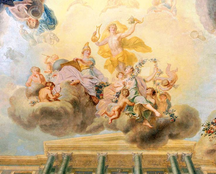 Detail of an illusionistic ceiling decoration in the so-called Dutch Cabinet of the Wilanów Palace attributed to Johann Samuel Mock and depicting the Apotheosis of the development of science, art and prosperity in Saxon times and durability of the Republic by John Samuel Mock, ca. 1730 (PD-art/old), commissioned by Augustus II the Strong