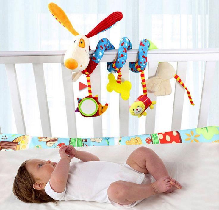 아기 딸랑이 개 스타일 신생아 유아 침대 침대 매달려 벨 침대 유모차 아기 IQ 개발 장난감 자동차 매달려 재생 장난감