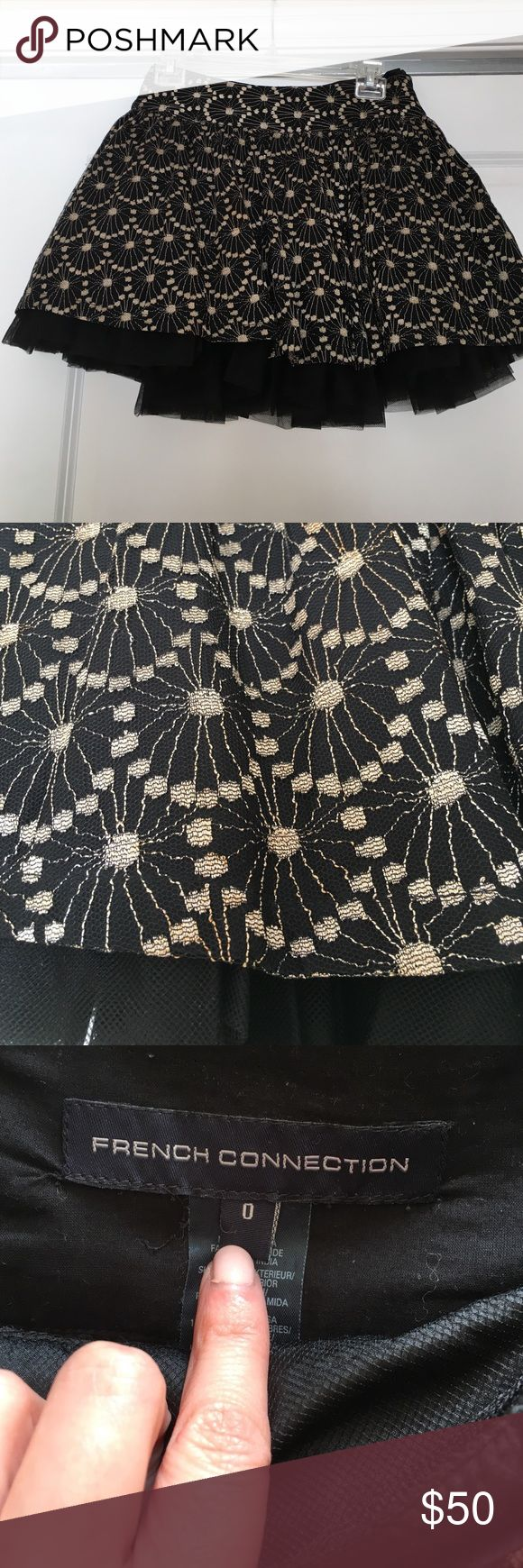 French connection skirt Worn a hand full of times, gold/black, big tulle under layer that attaches, so fun! Excellent condition French Connection Skirts Mini
