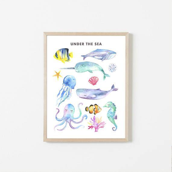 PRINTABLE Ocean Animals, Sea Animals, Watercolor Sea Animals, Watercolor Ocean, Whale, Narwhale, Octopus, Seahorse, Ocean Nursery, Fish