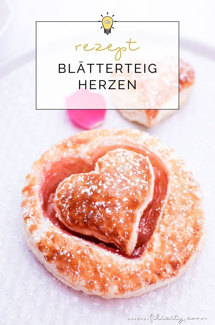 Rezept für Schnelle Blätterteig-Herzen mit Marmelade | Teilchen backen ganz ei…