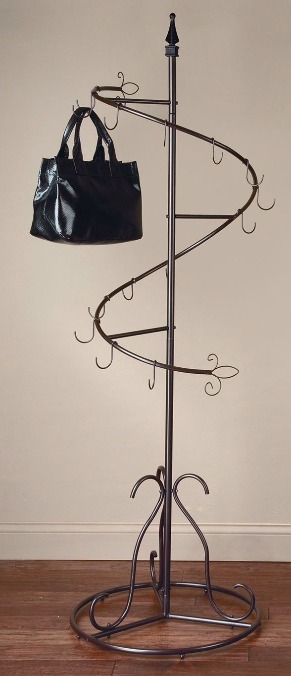 Features:  -Painted brown.  -Made of metal.  -15 Hooks.  Style (Old): -Contemporary.  Finish: -Brown.  Frame/Rail Material: -Metal.  Hardware Material: -Steel. Dimensions:  Overall Height - Top to Bot
