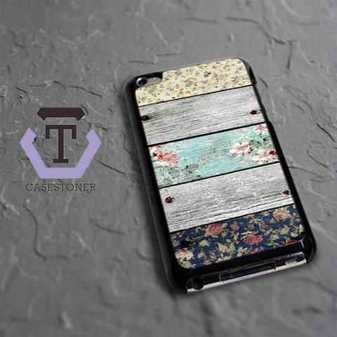 Wood Floral iPod 4 Black Case