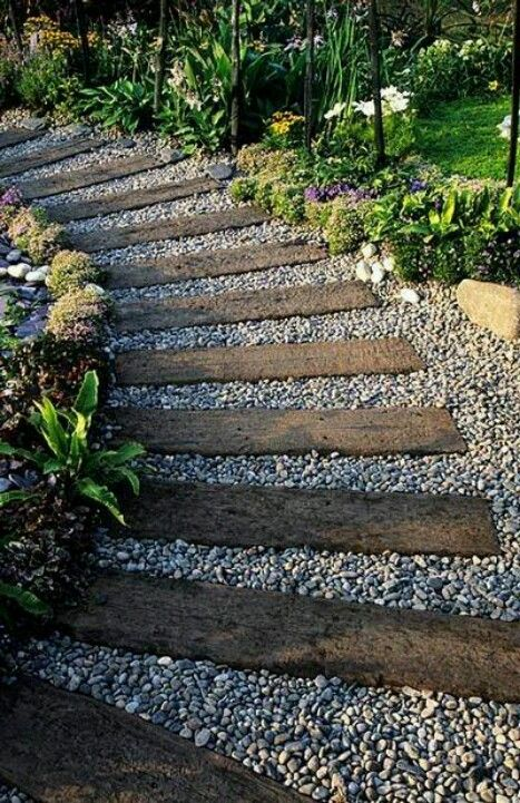 Pathway gravel and wood