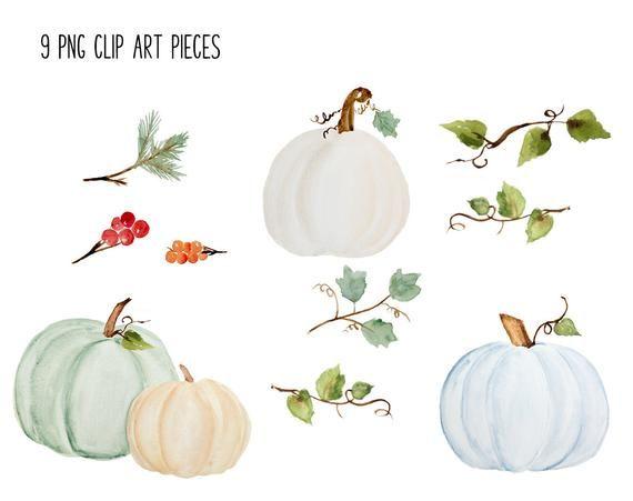 Pumpkin Clip Art Fall Watercolor Clipart Dusty Blue Etsy Fall Watercolor Pumpkin Clipart Clip Art