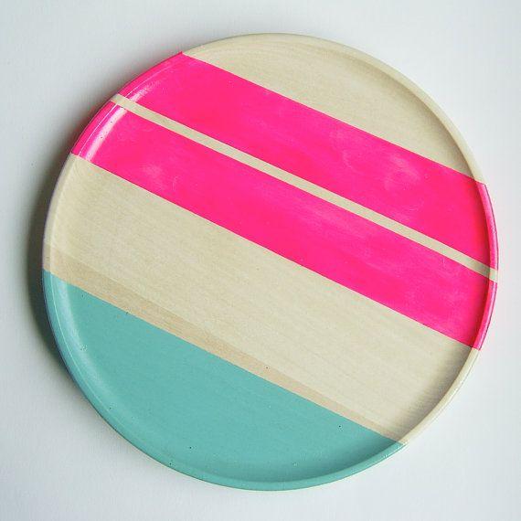 "Modern Neon Hardwood 10"" Plate, Neon Pink"