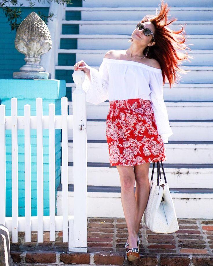 floral skirt, orange skirt, old navy, white off the shoulder top, ots, white bag, Galveston island, wind blown hair, red hair