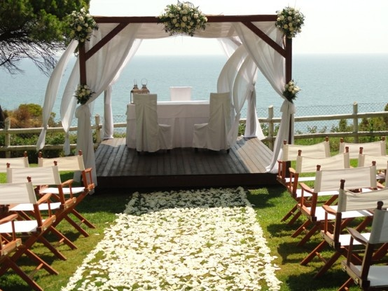 White green wedding ceremony Algarve Portugal by Algarve Wedding Planners