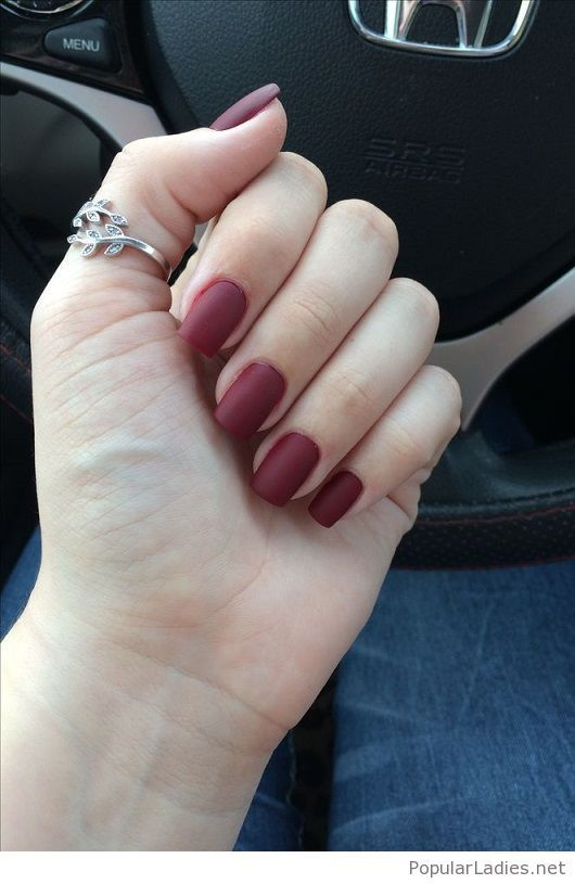 Burgundy Matte Stiletto Nails With Glossy Tips: Matte Burgundy Nails And Rings
