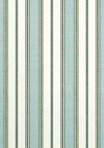 Bohemian Stripe #wallpaper and coordinating #fabric in Coastal Blue from the #Monterey collection by #Thibaut