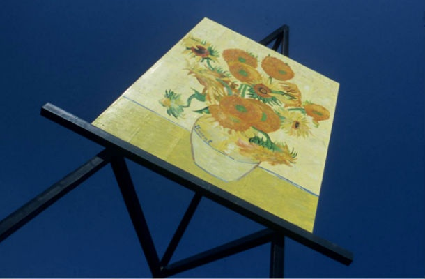 """Altona, Manitoba has the largest replica of Vincent van Gogh's Sunflowers. It's over 70 feet high and was named """"The largest painting on an easel"""" by The Guinness Book of World Records in 1998."""