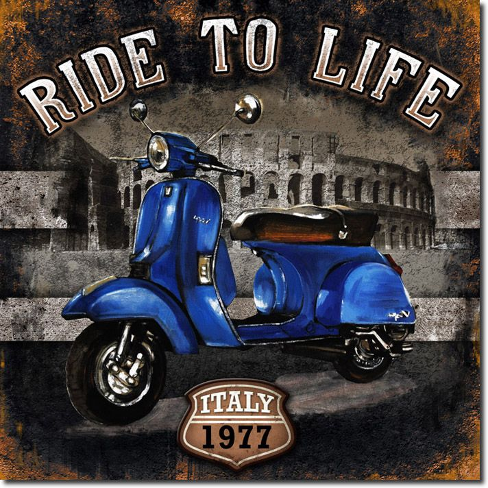 cuadro moto 01 ride to life blue