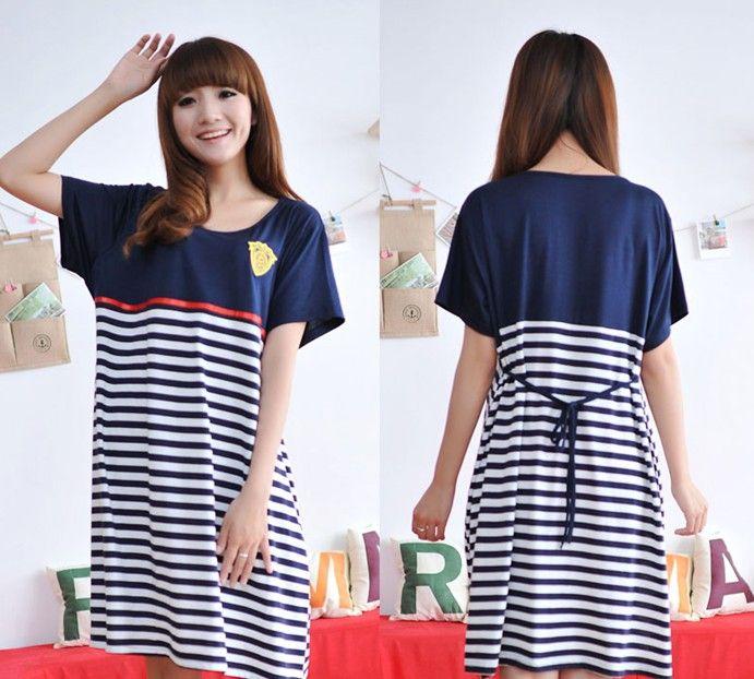 2014 новое платье хлопка материнства беременных корейские женщины одеваются Летняя мода полосатый знак - Taobao