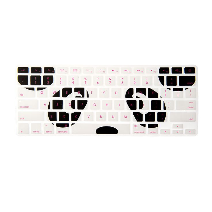 An adorable panda face decorates this keyboard cover. The letter and numbers are pink adding brightness to the design.