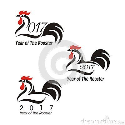 Happy new year 2017 with Rooster - symbol of chinese jodiak in cartoon style