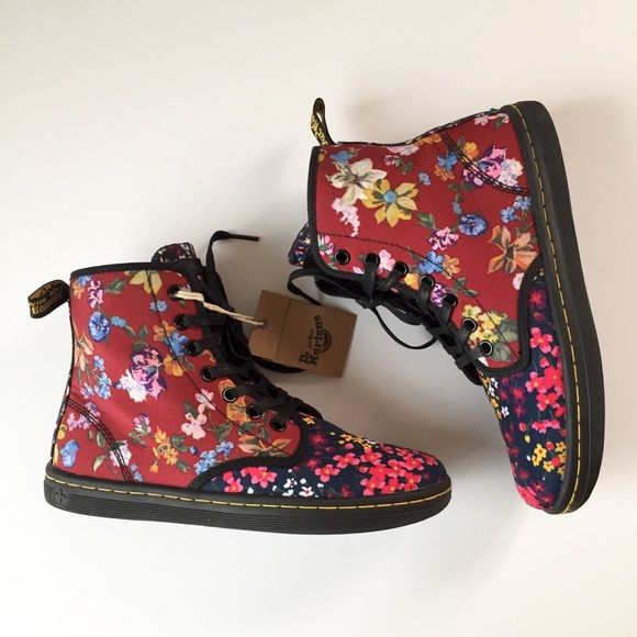 Shop Women's Dr. Martens Blue Red size 7 Combat & Moto Boots at a discounted price at Poshmark. Description: Dr martens shoreditch multi floral canvas size 7. Love the way they combine different patterns and colors. Brand new, comes with box, never worn.. Sold by sweetbean_vtg. Fast delivery, full service customer support.