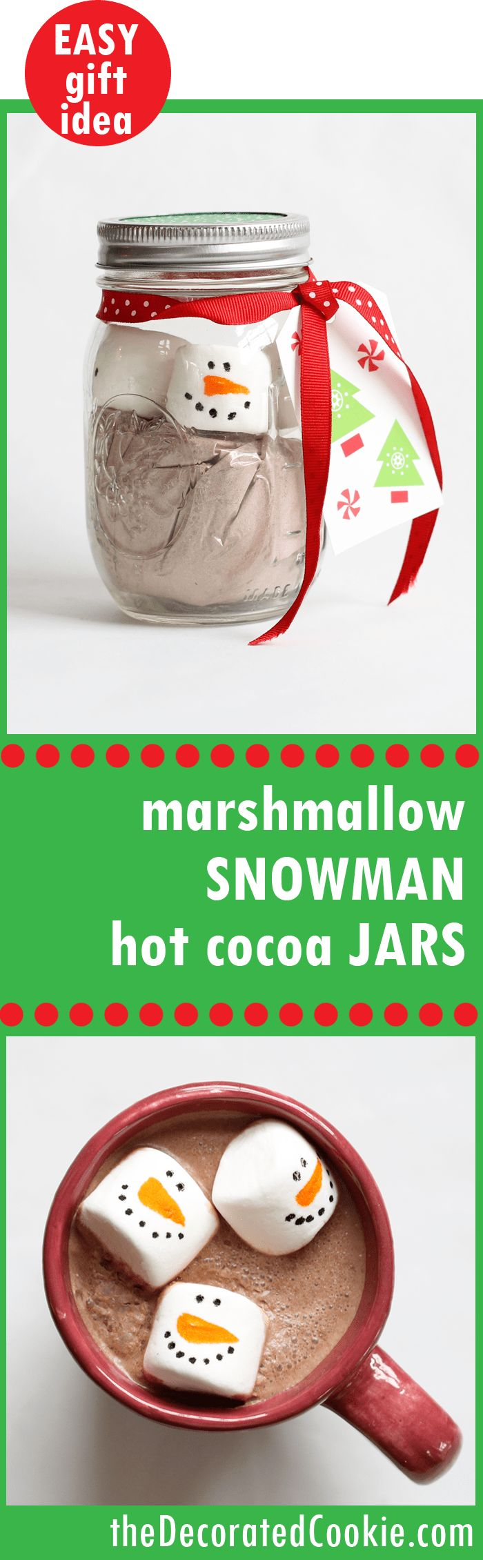 The ORIGINAL marshmallow snowman hot cocoa jars! Great handmade Christmas food gift idea. Originally posted in 2009, one of my most popular blog posts ever!