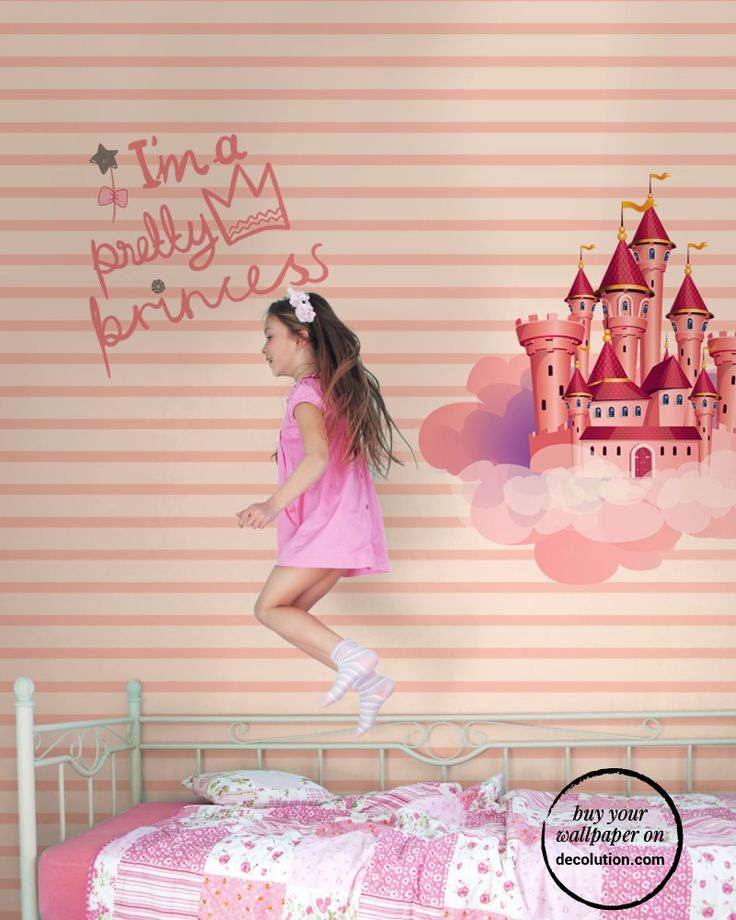 Princess - A classic fairytale castle suspended in a clouds in a lined sky. Wallpaper with pink hues ideal for little girls dreaming of being a princess.www.decolution.com #wallpaper #cartadaparati #cartedaparati #papelpintado #papierpeint #tapete #wallcovering #designityourself #DIY #wallpapershop #wallpaperonline #wallcovering #interiordesign #homedecoration #home