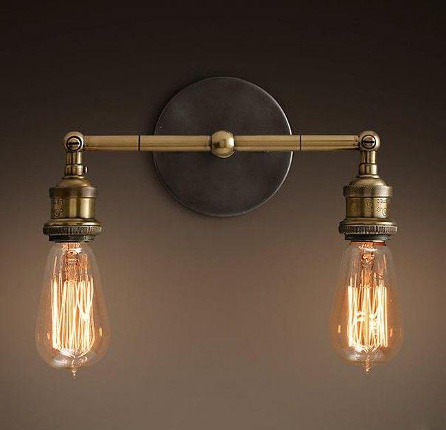 Nordic Loft Vintage Lustre Edison Double applique murale lampes industrielle…