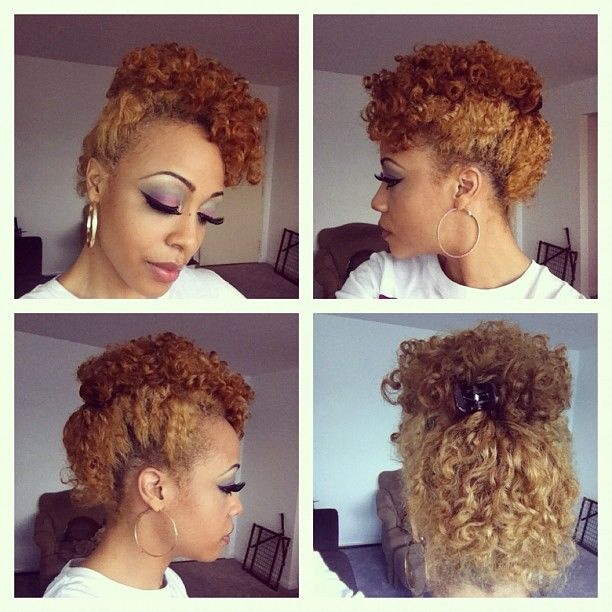 Retro curly updo ( Bantu knot out) ....love d color