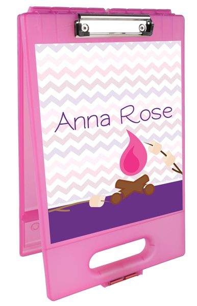 Camp Fire Personalized Clipboard Case. Made of lightweight plastic, this holds lots of camp stationery, pens, labels, stamps and whatever your child needs to keep in touch while away at summer camp.