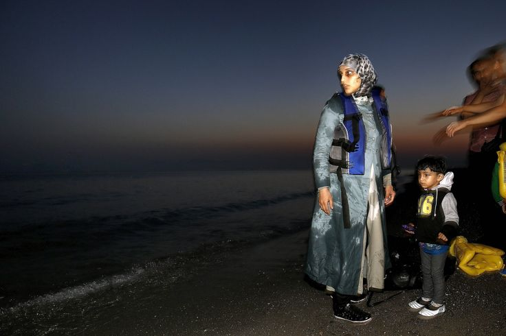Syrian refugees arriving in Greece