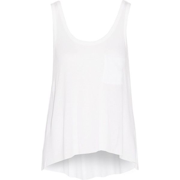Rag & bone Aberdeen jersey tank ($78) ❤ liked on Polyvore featuring tops, white, jersey tank top, loose tank, loose white tank top, asymmetrical tank top and loose fitting tops