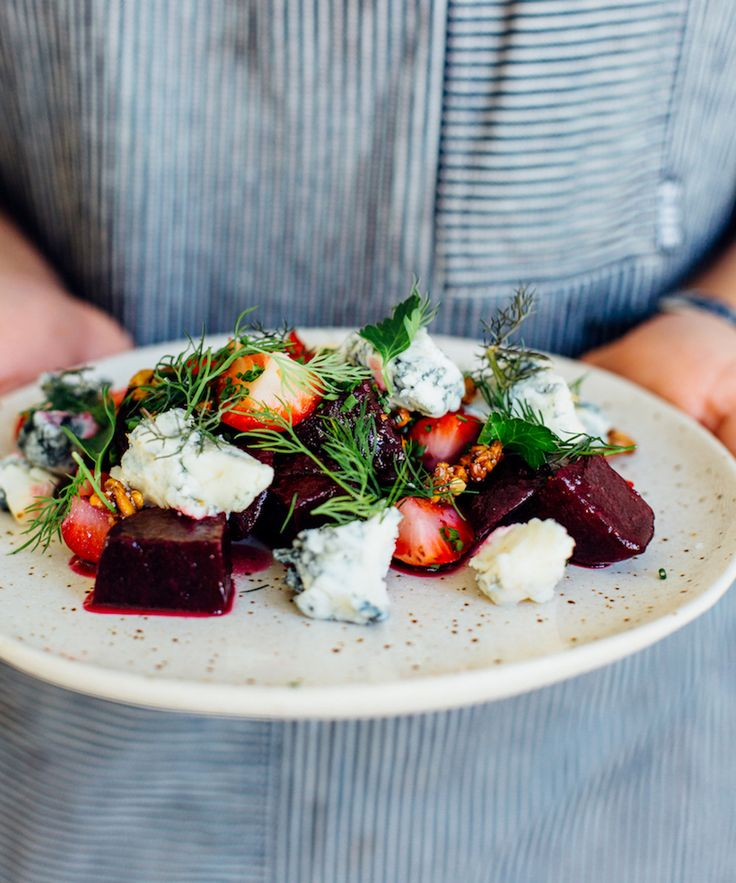 This grilled beet and strawberry salad from Juniper in Austin is a delicious and easy appetizer recipe to serve up at all your dinner parties this spring.