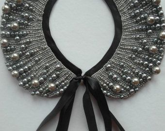 Handmade pearl collar necklace vintage style by Capsis on Etsy