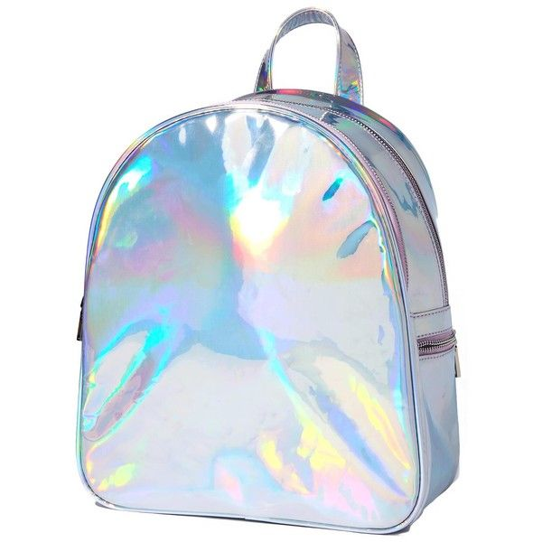 Sugar Thrillz Holla Back Girl Backpack (£29) ❤ liked on Polyvore featuring bags, backpacks, day pack backpack, backpack bags, holographic backpack, knapsack bag and daypack bag