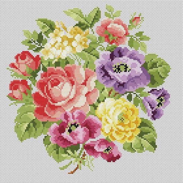 """Сачать схему вышивки """"Flowerbouquet""""  Формат схемы: .xsd  Размер: 126x130  Производитель: Ellen Maurer-Stroh  Артикул: EMS 010  Серия:   Количество цветов в : 32"""