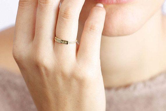 Gold Nameplate Ring Best Friend Rings Rope Gold Ring Custom
