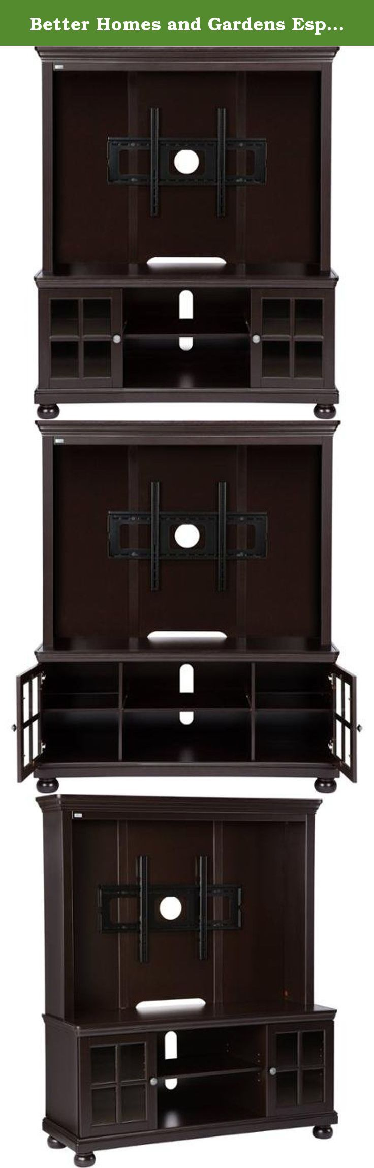 """Better Homes and Gardens Espresso TV Stand with Hutch, for TVs up to 50"""". Add some functional style to your home with the Better Homes and Gardens Espresso TV Stand with Hutch. Easy to assemble, it holds most 50"""" flat panel TVs with ease. The Better Homes and Gardens TV Stand also has plenty of additional room to store your media players, gaming consoles, DVD collections and more. The glass-front cabinets keep the dust away from sensitive equipment, while the hutch provides a great place…"""